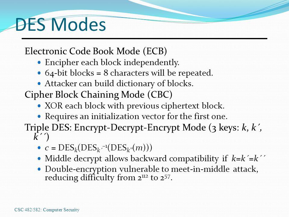CSC 482/582: Computer Security DES Modes Electronic Code Book Mode (ECB) Encipher each block independently.