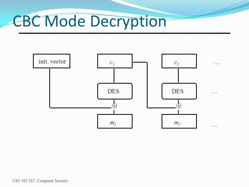 CSC 482/582: Computer Security CBC Mode Decryption  init. vector c1c1 DES m1m1 … … …  c2c2 m2m2