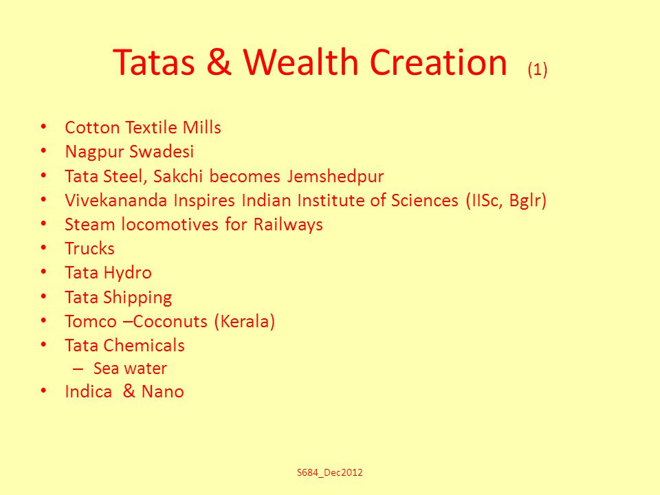 Tatas & Wealth Creation (1) Cotton Textile Mills Nagpur Swadesi Tata Steel, Sakchi becomes Jemshedpur Vivekananda Inspires Indian Institute of Sciences (IISc, Bglr) Steam locomotives for Railways Trucks Tata Hydro Tata Shipping Tomco –Coconuts (Kerala) Tata Chemicals – Sea water Indica & Nano S684_Dec2012