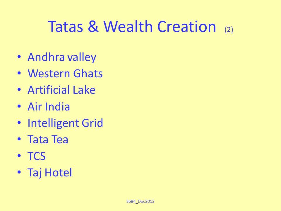 Tatas & Wealth Creation (2) Andhra valley Western Ghats Artificial Lake Air India Intelligent Grid Tata Tea TCS Taj Hotel S684_Dec2012
