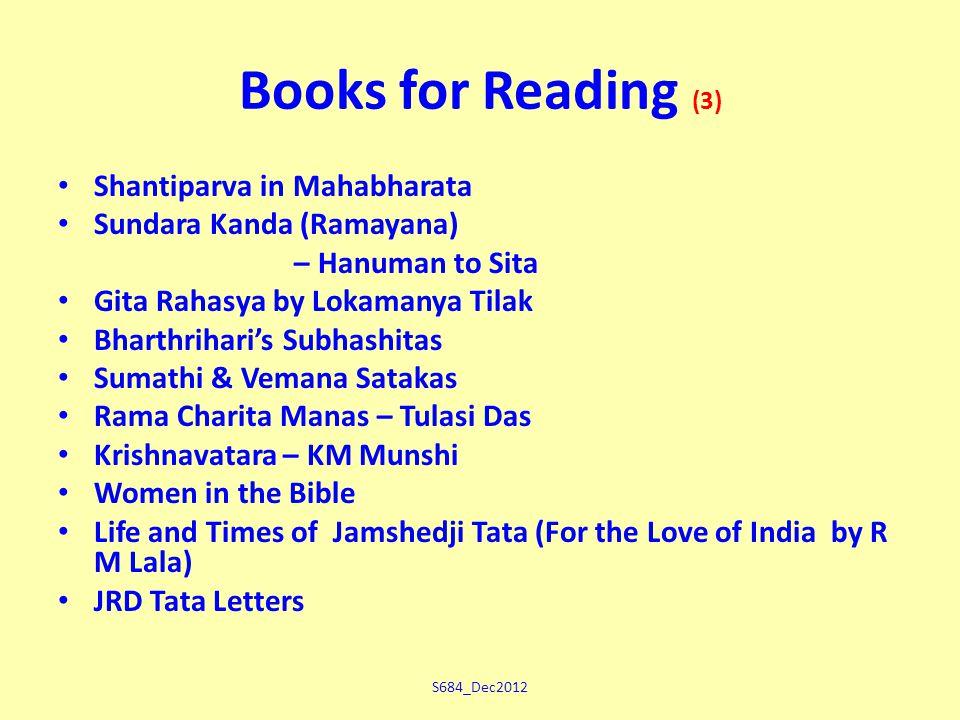S684_Dec2012 Books for Reading (3) Shantiparva in Mahabharata Sundara Kanda (Ramayana) – Hanuman to Sita Gita Rahasya by Lokamanya Tilak Bharthrihari's Subhashitas Sumathi & Vemana Satakas Rama Charita Manas – Tulasi Das Krishnavatara – KM Munshi Women in the Bible Life and Times of Jamshedji Tata (For the Love of India by R M Lala) JRD Tata Letters