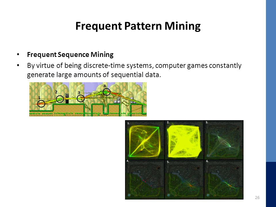 Frequent Pattern Mining Frequent Sequence Mining By virtue of being discrete-time systems, computer games constantly generate large amounts of sequential data.