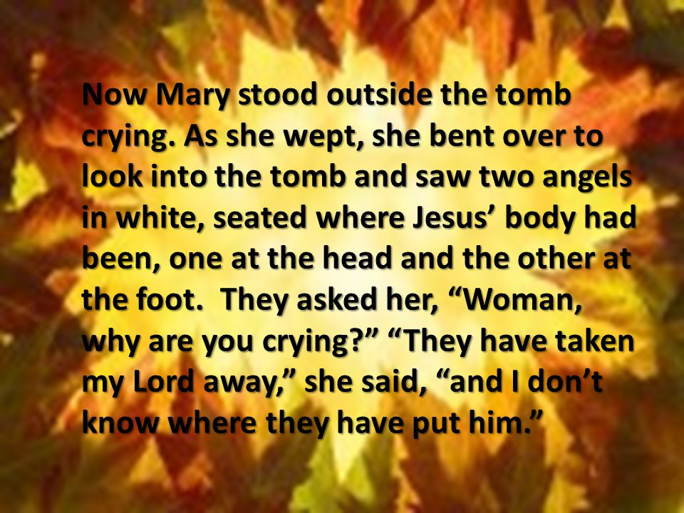 Now Mary stood outside the tomb crying. As she wept, she bent over to look into the tomb and saw two angels in white, seated where Jesus' body had bee