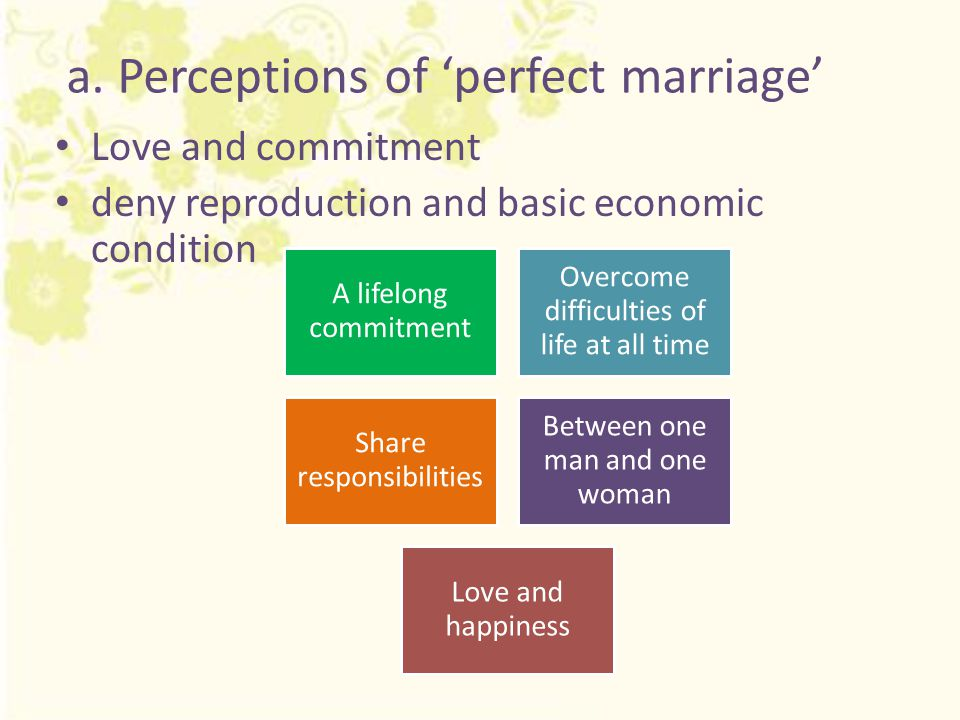 a. Perceptions of 'perfect marriage' Love and commitment deny reproduction and basic economic condition A lifelong commitment Overcome difficulties of