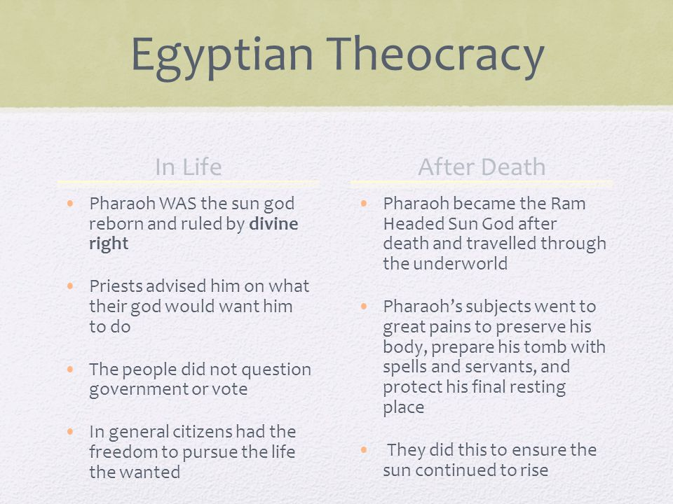 Egyptian Theocracy In Life Pharaoh WAS the sun god reborn and ruled by divine right Priests advised him on what their god would want him to do The people did not question government or vote In general citizens had the freedom to pursue the life the wanted After Death Pharaoh became the Ram Headed Sun God after death and travelled through the underworld Pharaoh's subjects went to great pains to preserve his body, prepare his tomb with spells and servants, and protect his final resting place They did this to ensure the sun continued to rise