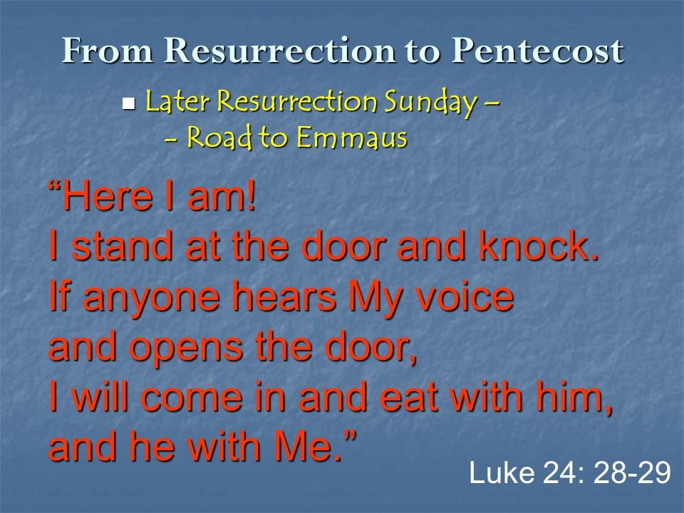 From Resurrection to Pentecost Later Resurrection Sunday – Later Resurrection Sunday – - Road to Emmaus - Road to Emmaus Luke 24: 28-29 Here I am.