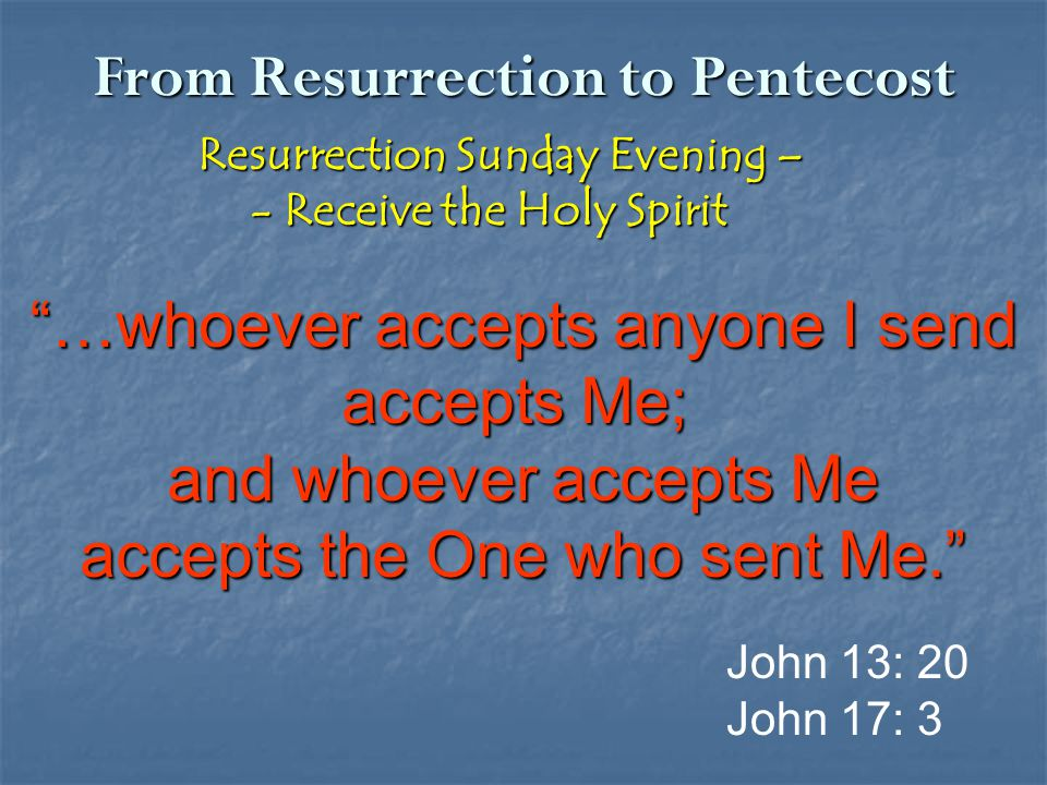 "From Resurrection to Pentecost Resurrection Sunday Evening – Resurrection Sunday Evening – - Receive the Holy Spirit - Receive the Holy Spirit ""…whoev"