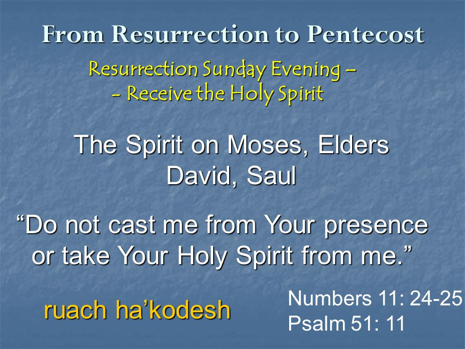 From Resurrection to Pentecost Resurrection Sunday Evening – Resurrection Sunday Evening – - Receive the Holy Spirit - Receive the Holy Spirit The Spi