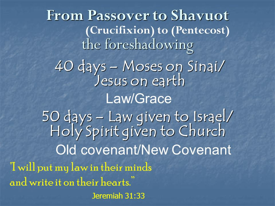 50 days – Law given to Israel/ Holy Spirit given to Church Old covenant/New Covenant