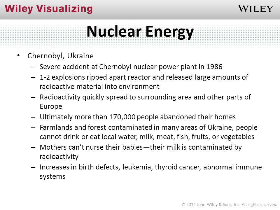 Nuclear Energy Chernobyl, Ukraine – Severe accident at Chernobyl nuclear power plant in 1986 – 1-2 explosions ripped apart reactor and released large