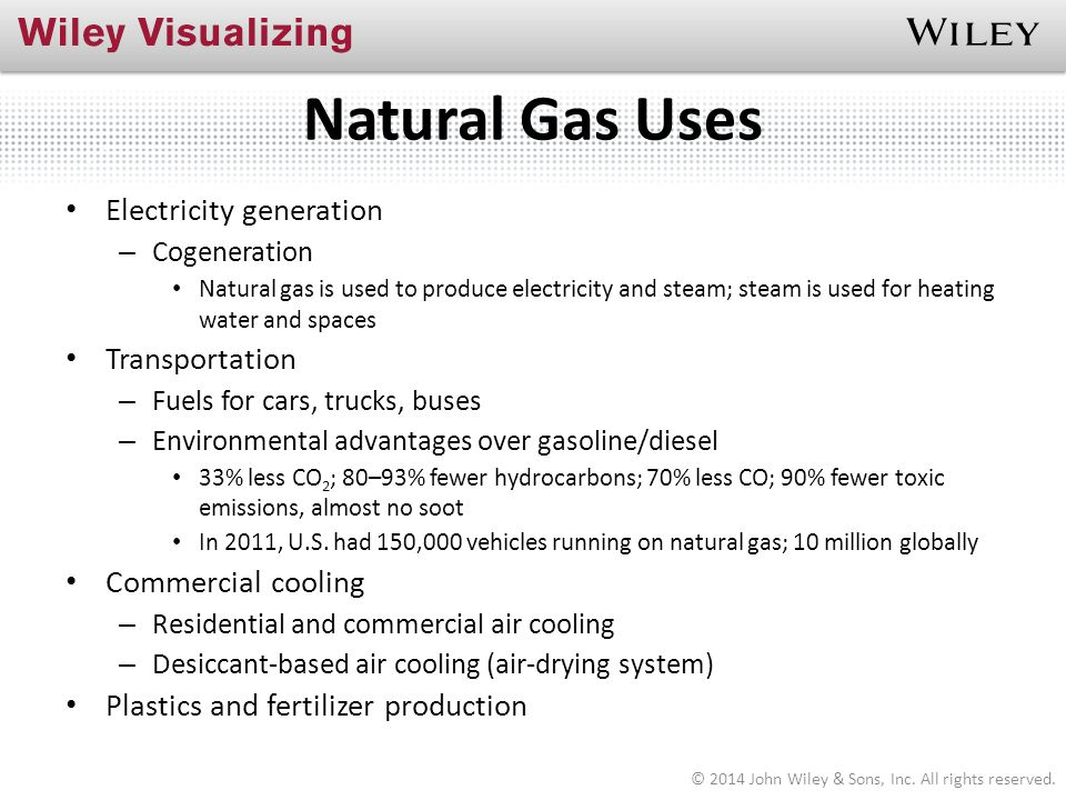 Natural Gas Uses Electricity generation – Cogeneration Natural gas is used to produce electricity and steam; steam is used for heating water and space
