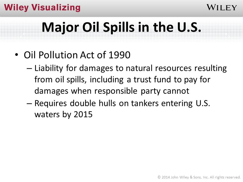 Major Oil Spills in the U.S. Oil Pollution Act of 1990 – Liability for damages to natural resources resulting from oil spills, including a trust fund