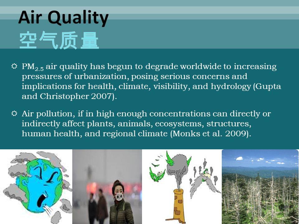  PM 2.5 air quality has begun to degrade worldwide to increasing pressures of urbanization, posing serious concerns and implications for health, climate, visibility, and hydrology (Gupta and Christopher 2007).