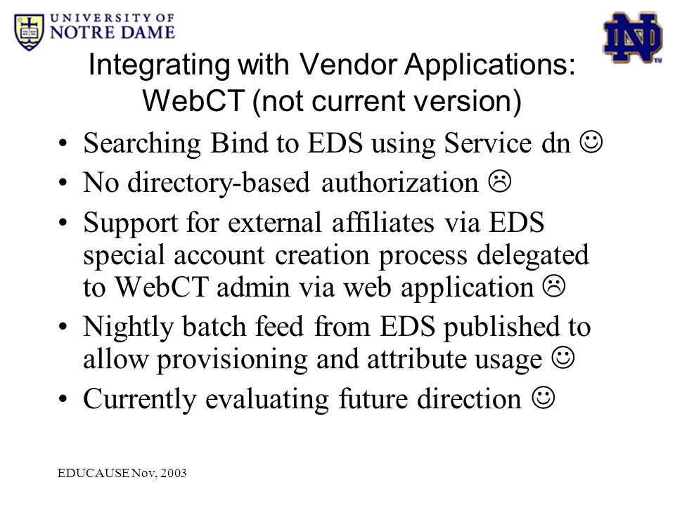EDUCAUSE Nov, 2003 Integrating with Vendor Applications: WebCT (not current version) Searching Bind to EDS using Service dn No directory-based authori