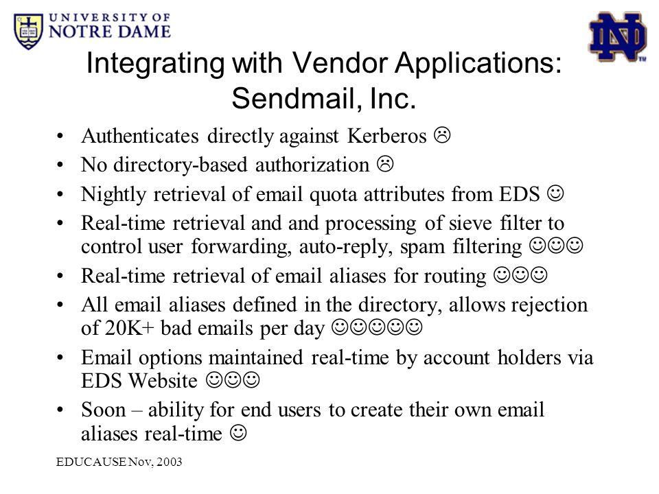EDUCAUSE Nov, 2003 Integrating with Vendor Applications: Sendmail, Inc.
