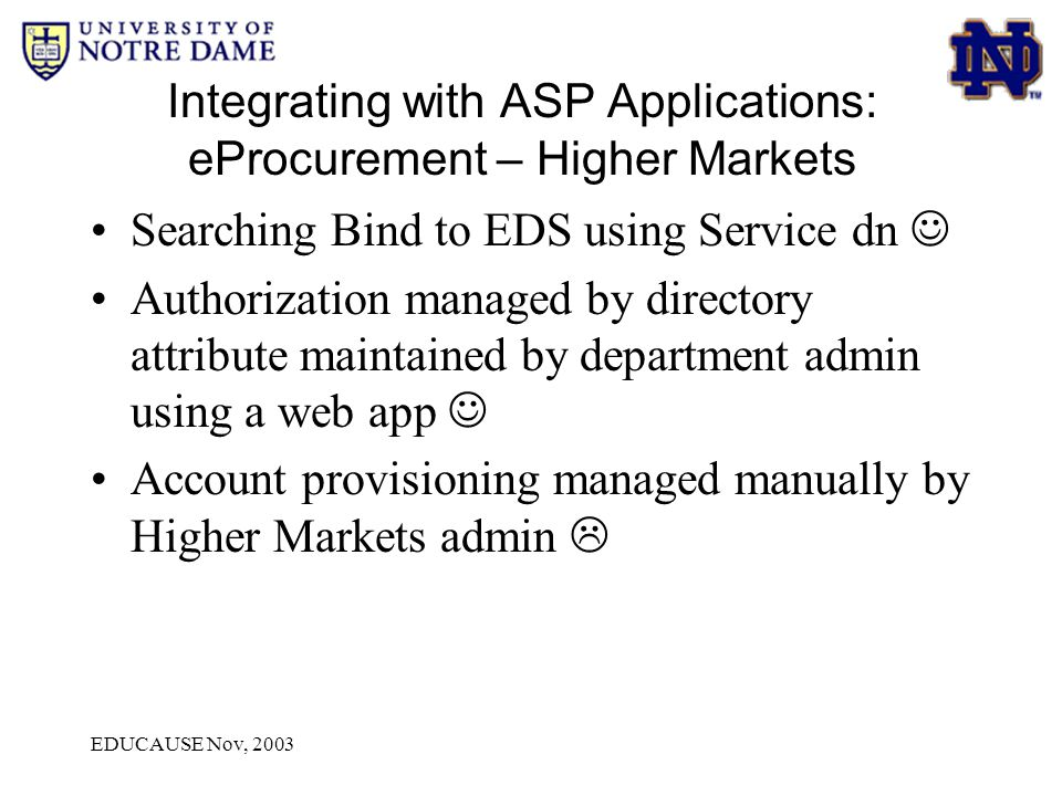 EDUCAUSE Nov, 2003 Integrating with ASP Applications: eProcurement – Higher Markets Searching Bind to EDS using Service dn Authorization managed by di