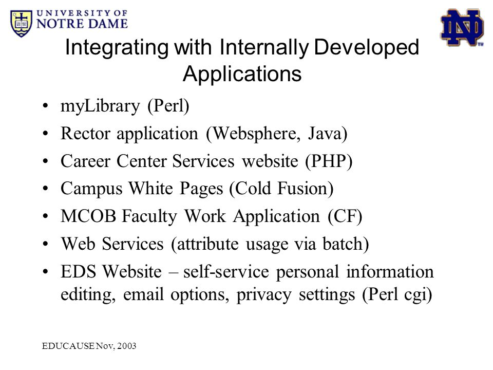 EDUCAUSE Nov, 2003 Integrating with Internally Developed Applications myLibrary (Perl) Rector application (Websphere, Java) Career Center Services web
