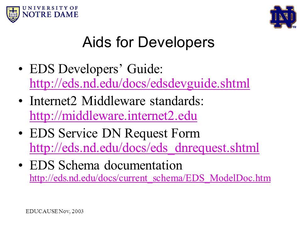 EDUCAUSE Nov, 2003 Aids for Developers EDS Developers' Guide: http://eds.nd.edu/docs/edsdevguide.shtml http://eds.nd.edu/docs/edsdevguide.shtml Intern