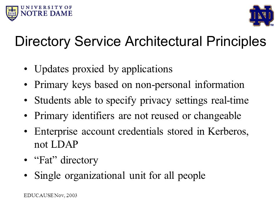 EDUCAUSE Nov, 2003 Directory Service Architectural Principles Updates proxied by applications Primary keys based on non-personal information Students able to specify privacy settings real-time Primary identifiers are not reused or changeable Enterprise account credentials stored in Kerberos, not LDAP Fat directory Single organizational unit for all people