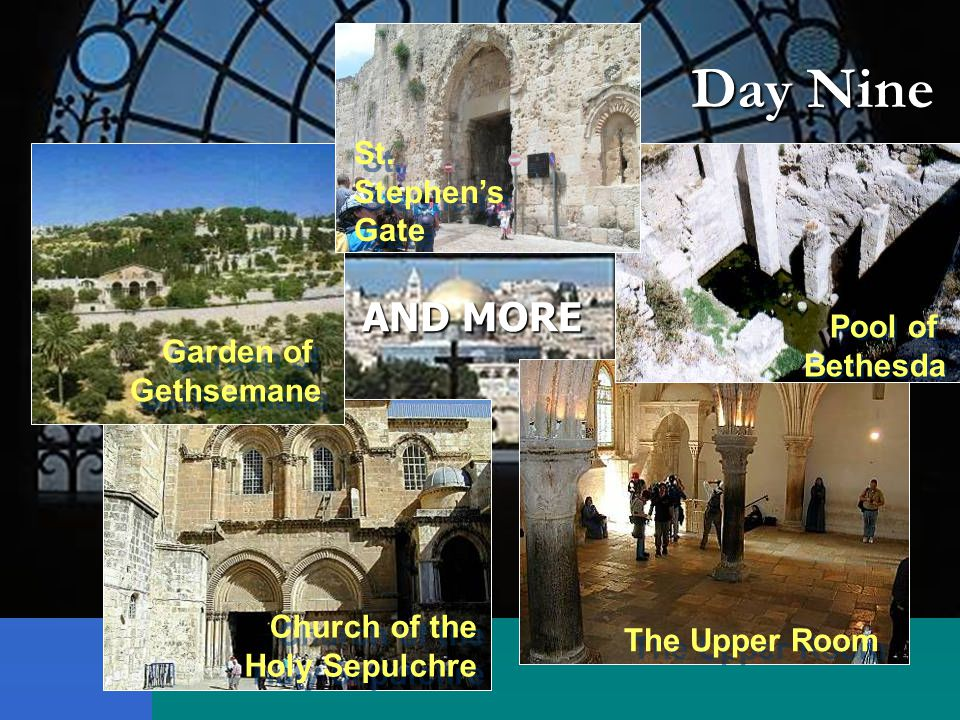 Day Nine Jerusalem The Old City Jerusalem The Old City Church of the Holy Sepulchre Church of the Holy Sepulchre Day Nine The Upper Room Pool of Bethesda Pool of Bethesda Garden of Gethsemane Garden of Gethsemane St.