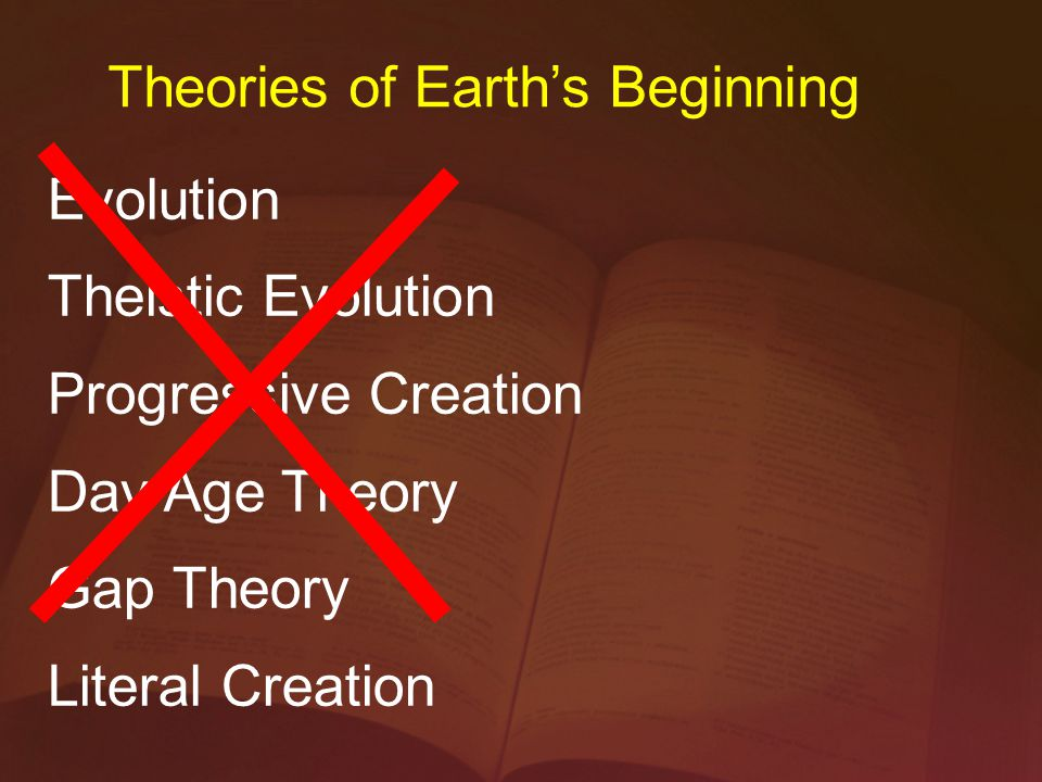 Evolution Theistic Evolution Progressive Creation Day Age Theory Gap Theory Literal Creation Theories of Earth's Beginning