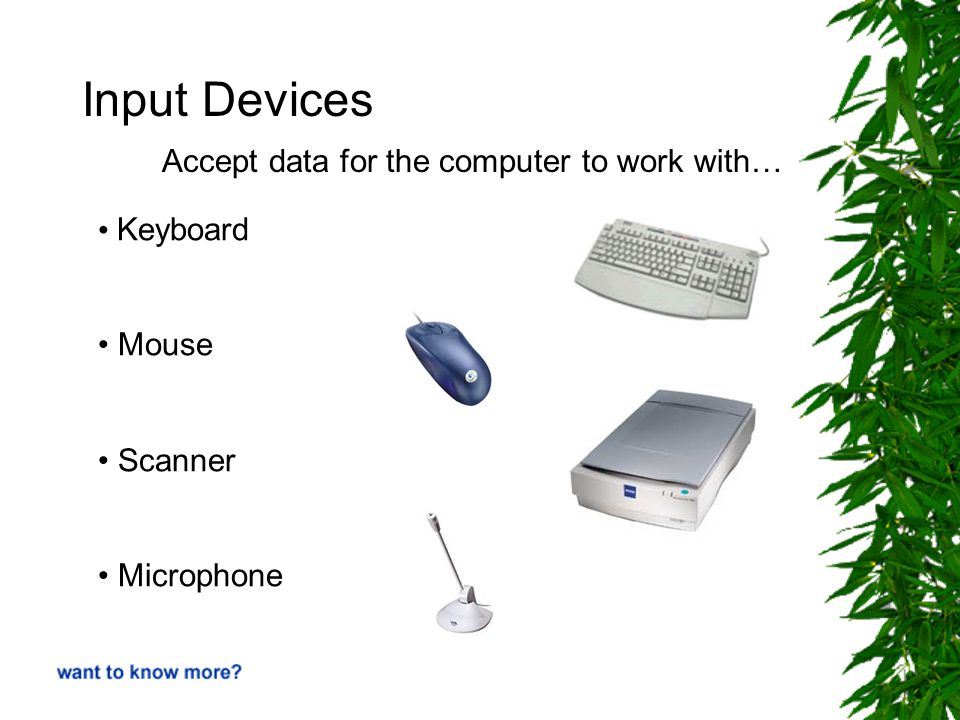 Input Devices Keyboard Mouse Scanner Microphone Accept data for the computer to work with…