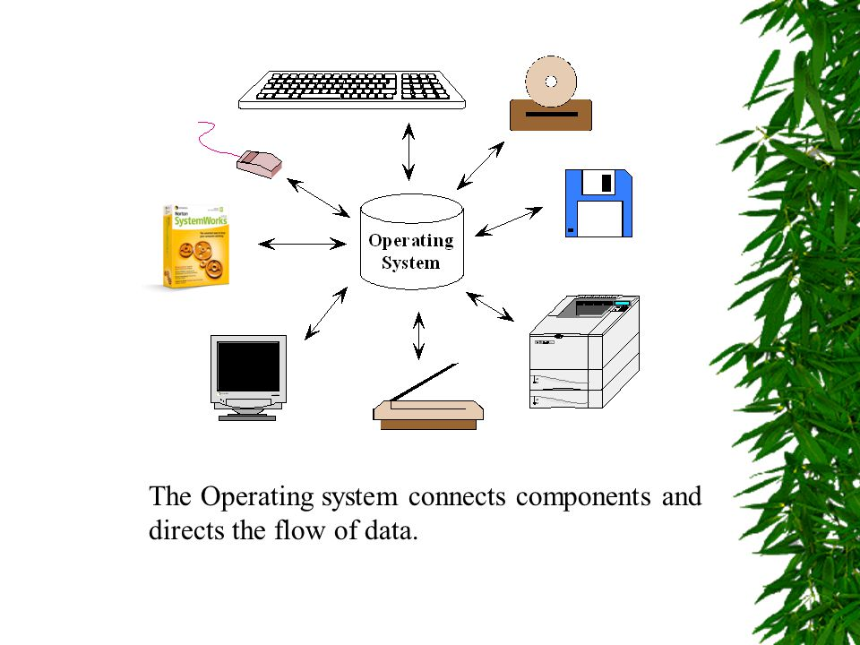 The Operating system connects components and directs the flow of data.