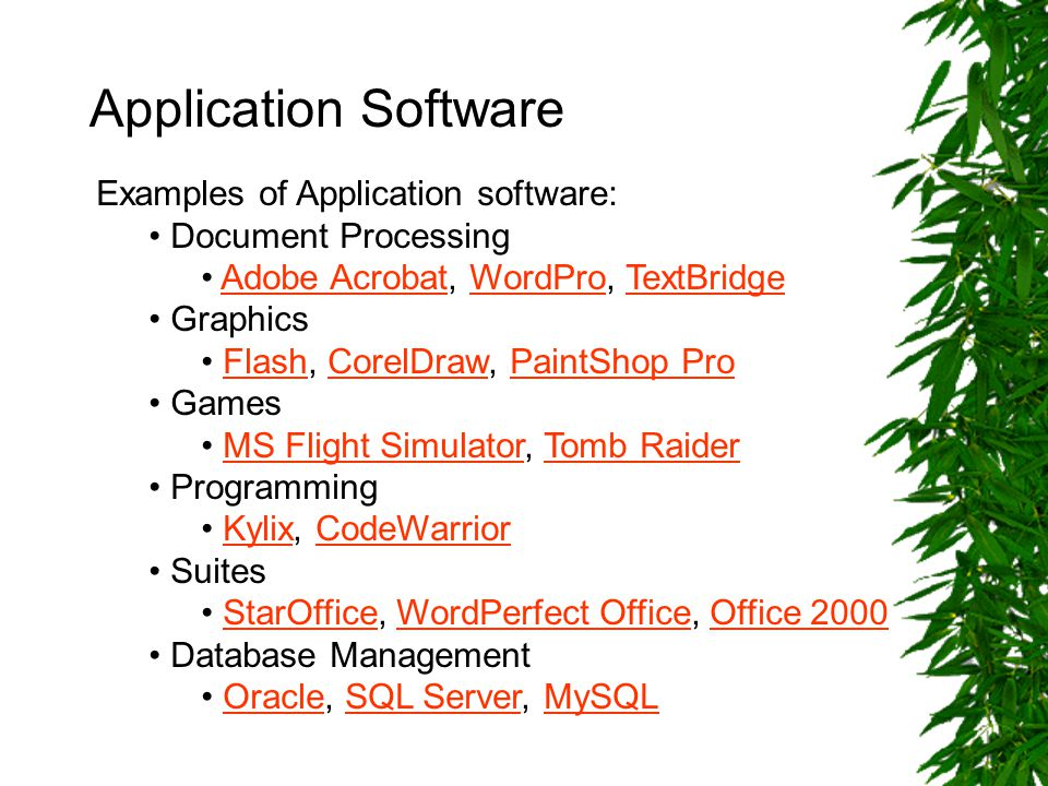 Application Software Examples of Application software: Document Processing Adobe Acrobat, WordPro, TextBridgeAdobe AcrobatWordProTextBridge Graphics Flash, CorelDraw, PaintShop ProFlashCorelDrawPaintShop Pro Games MS Flight Simulator, Tomb RaiderMS Flight SimulatorTomb Raider Programming Kylix, CodeWarriorKylixCodeWarrior Suites StarOffice, WordPerfect Office, Office 2000StarOfficeWordPerfect OfficeOffice 2000 Database Management Oracle, SQL Server, MySQLOracleSQL ServerMySQL