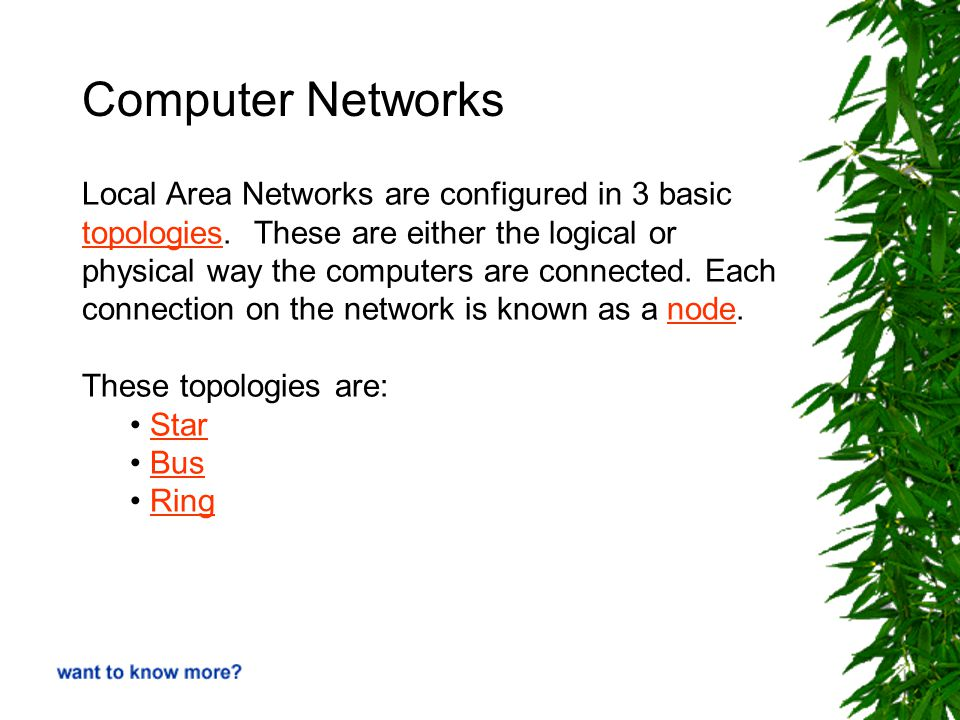 Computer Networks Local Area Networks are configured in 3 basic topologiestopologies.