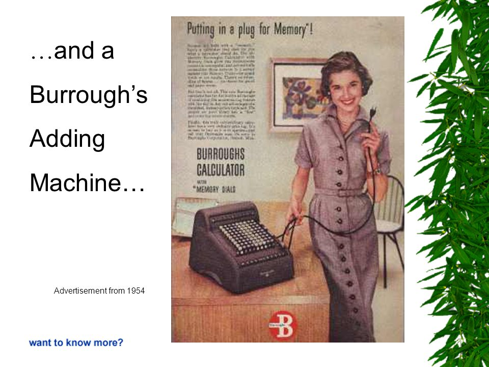 … and a Burrough's Adding Machine… Advertisement from 1954