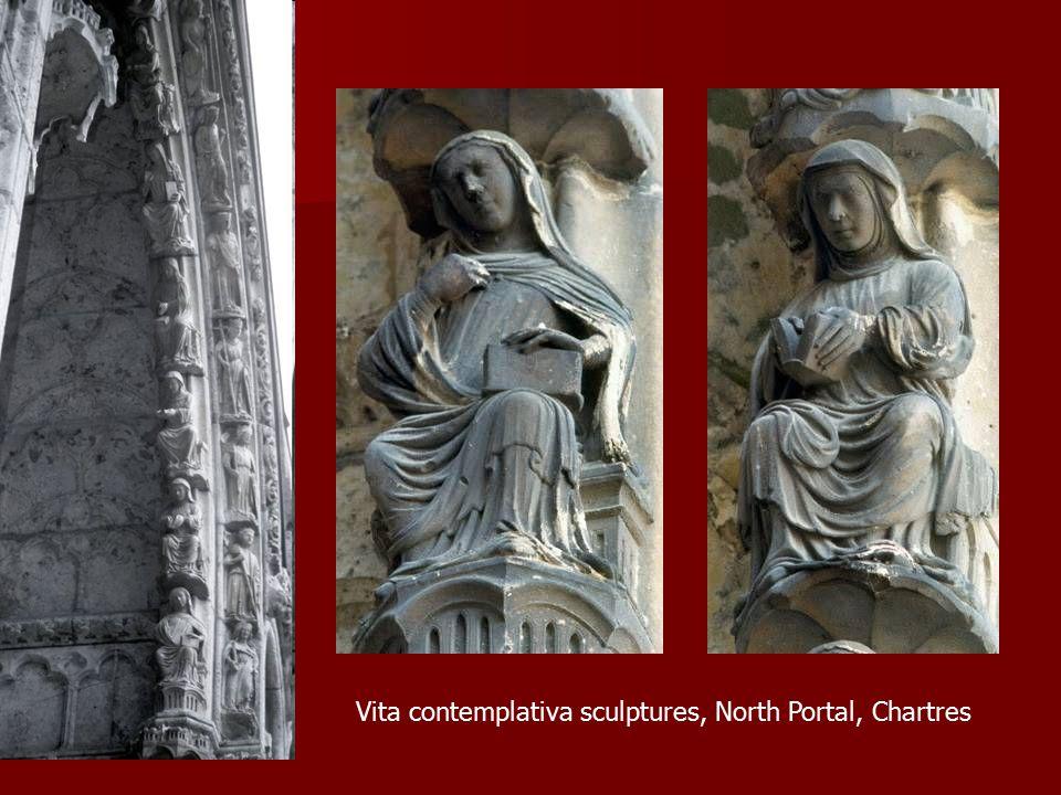 Vita contemplativa sculptures, North Portal, Chartres