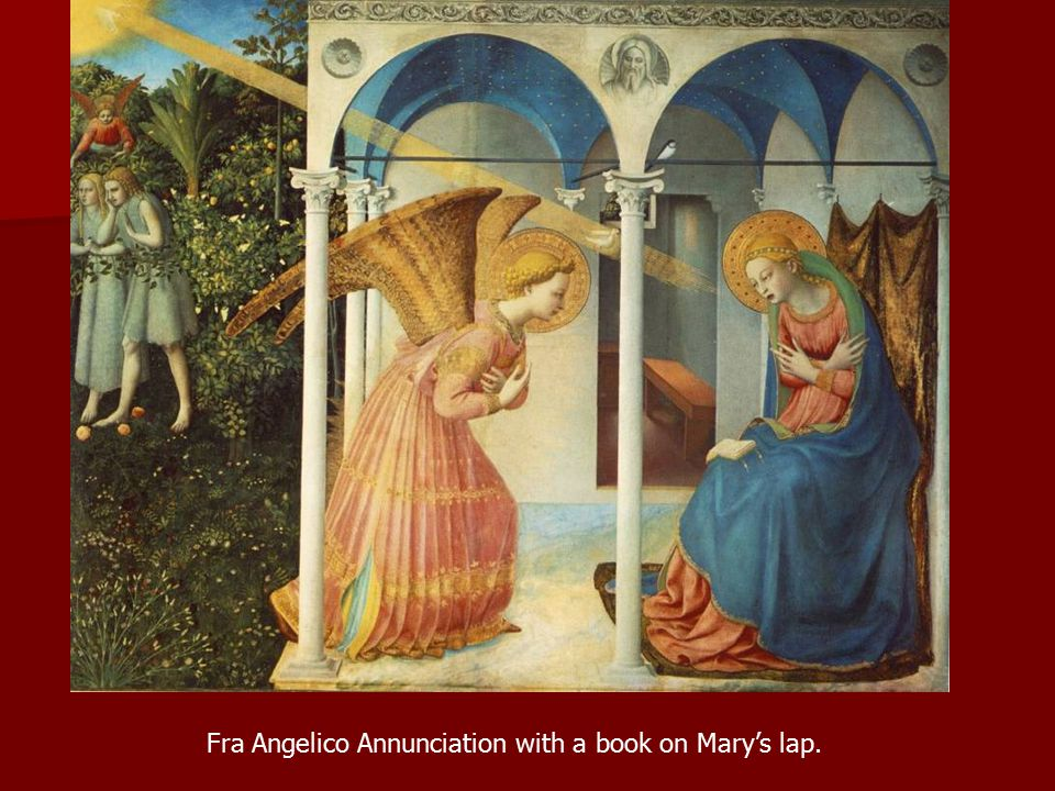 Fra Angelico Annunciation with a book on Mary's lap.