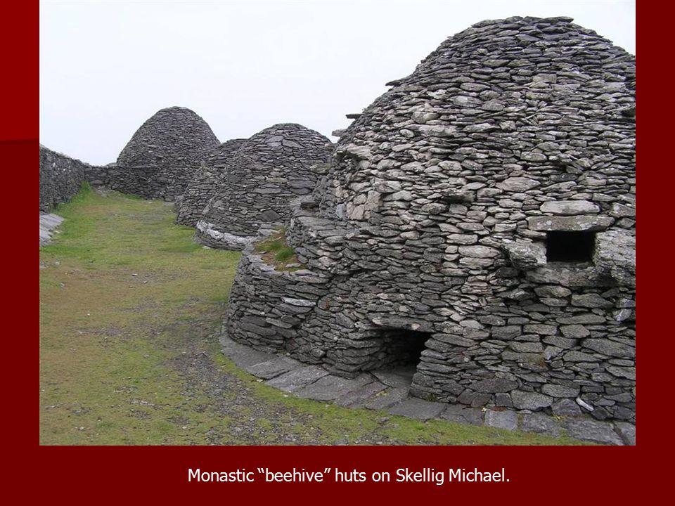 Monastic beehive huts on Skellig Michael.
