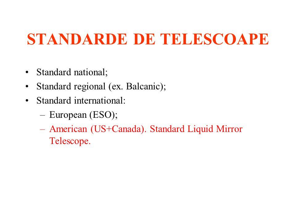 STANDARDE DE TELESCOAPE Standard national; Standard regional (ex.