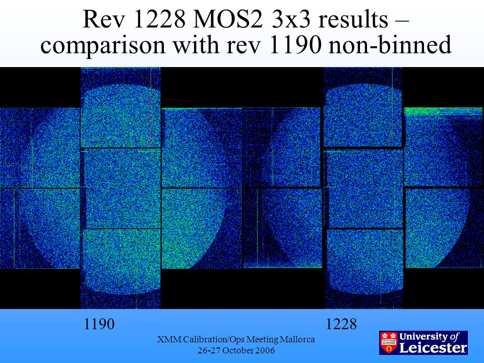 XMM Calibration/Ops Meeting Mallorca 26-27 October 2006 6 Rev 1228 MOS2 3x3 results – comparison with rev 1190 non-binned 11901228