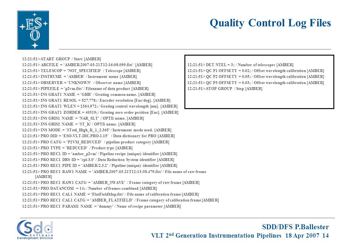 SDD/DFS P.Ballester VLT 2 nd Generation Instrumentation Pipelines 18 Apr 2007 14 Quality Control Log Files 12:21:51>-START GROUP / Start [AMBER] 12:21:51> ARCFILE = AMBER.2007-03-21T12:16:08.099.fits [AMBER] 12:21:51> TELESCOP = NOT_SPECIFIED / Telescope [AMBER] 12:21:51> INSTRUME = AMBER / Instrument name [AMBER] 12:21:51> OBSERVER = UNKNOWN / Observer name [AMBER] 12:21:51> PIPEFILE = p2vm.fits / Filename of data product [AMBER] 12:21:51> INS GRAT1 NAME = GHR / Grating common name.