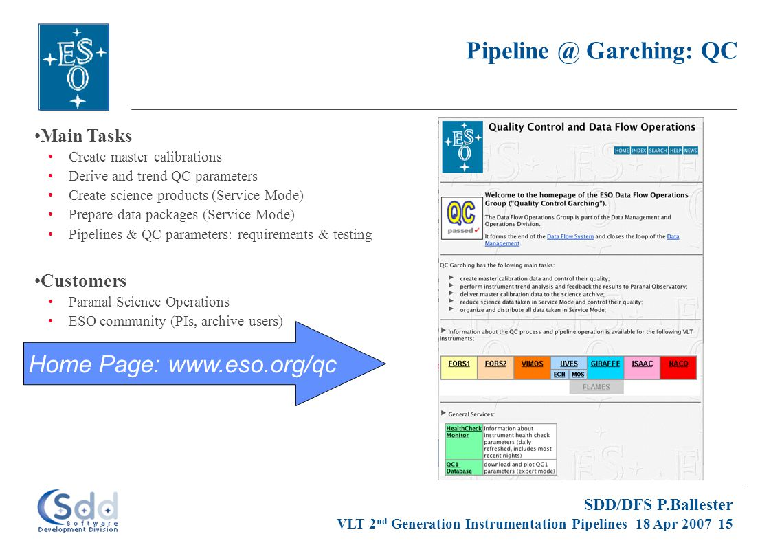 SDD/DFS P.Ballester VLT 2 nd Generation Instrumentation Pipelines 18 Apr 2007 15 Pipeline @ Garching: QC Main Tasks Create master calibrations Derive