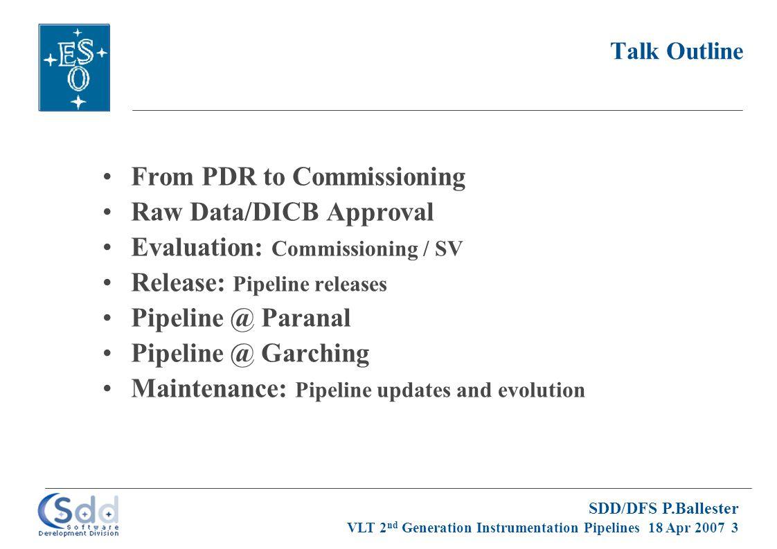 SDD/DFS P.Ballester VLT 2 nd Generation Instrumentation Pipelines 18 Apr 2007 4 DFS Deliverables: Template Schedule