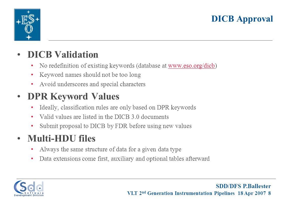 SDD/DFS P.Ballester VLT 2 nd Generation Instrumentation Pipelines 18 Apr 2007 9 Association Maps