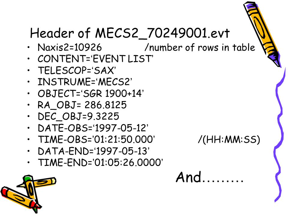 Header of MECS2_70249001.evt Naxis2=10926 /number of rows in table CONTENT= ' EVENT LIST ' TELESCOP= ' SAX ' INSTRUME= ' MECS2 ' OBJECT= ' SGR 1900+14 ' RA_OBJ= 286.8125 DEC_OBJ=9.3225 DATE-OBS= ' 1997-05-12 ' TIME-OBS= ' 01:21:50.000 ' /(HH:MM:SS) DATA-END= ' 1997-05-13 ' TIME-END= ' 01:05:26.0000 ' And ………