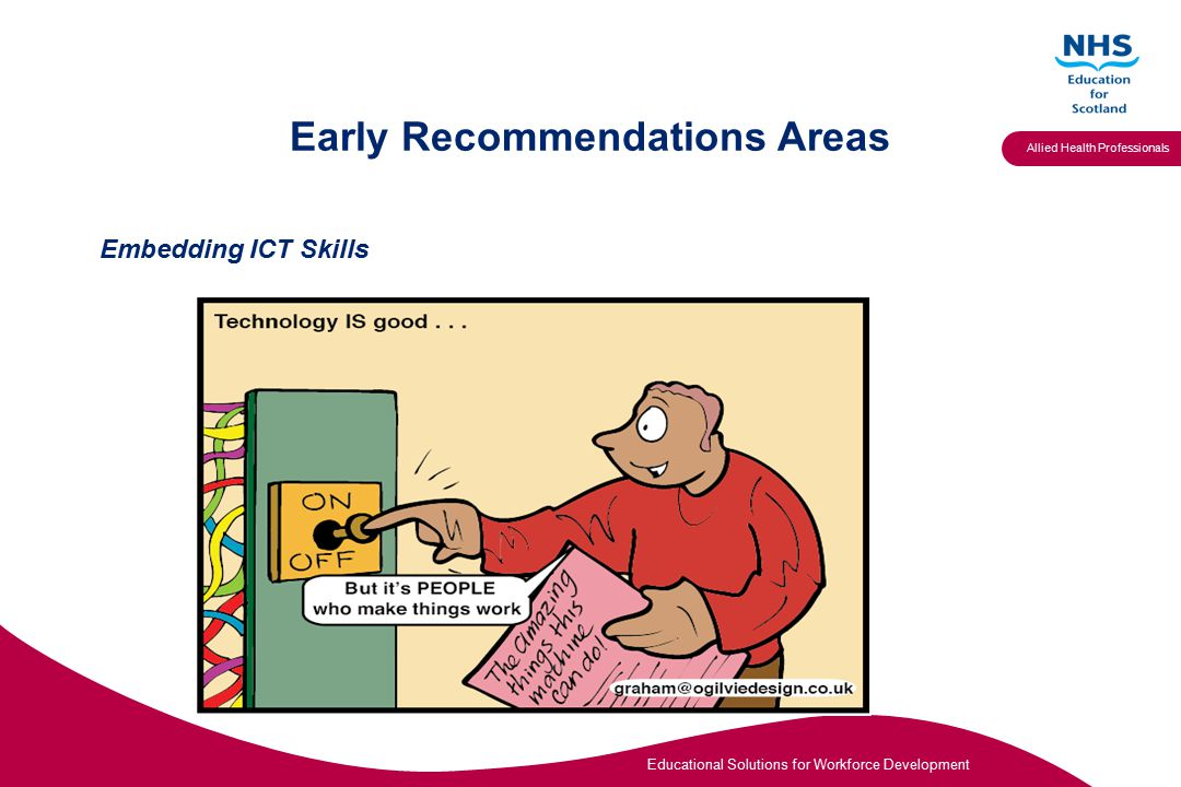 Educational Solutions for Workforce Development Allied Health Professionals Early Recommendations Areas Embedding ICT Skills