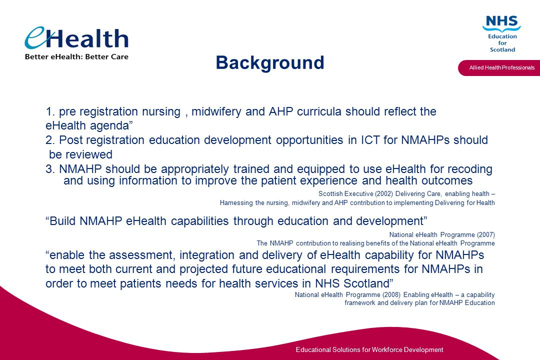 Educational Solutions for Workforce Development Allied Health Professionals Background 1.