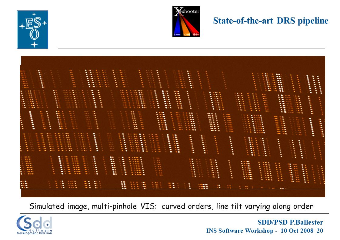 SDD/PSD P.Ballester INS Software Workshop - 10 Oct 2008 20 State-of-the-art DRS pipeline Simulated image, multi-pinhole VIS: curved orders, line tilt varying along order