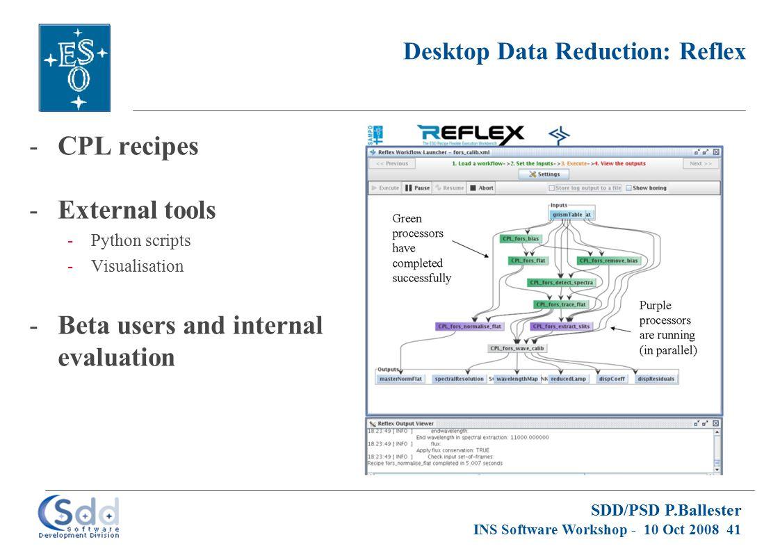 SDD/PSD P.Ballester INS Software Workshop - 10 Oct 2008 41 Desktop Data Reduction: Reflex -CPL recipes -External tools -Python scripts -Visualisation -Beta users and internal evaluation