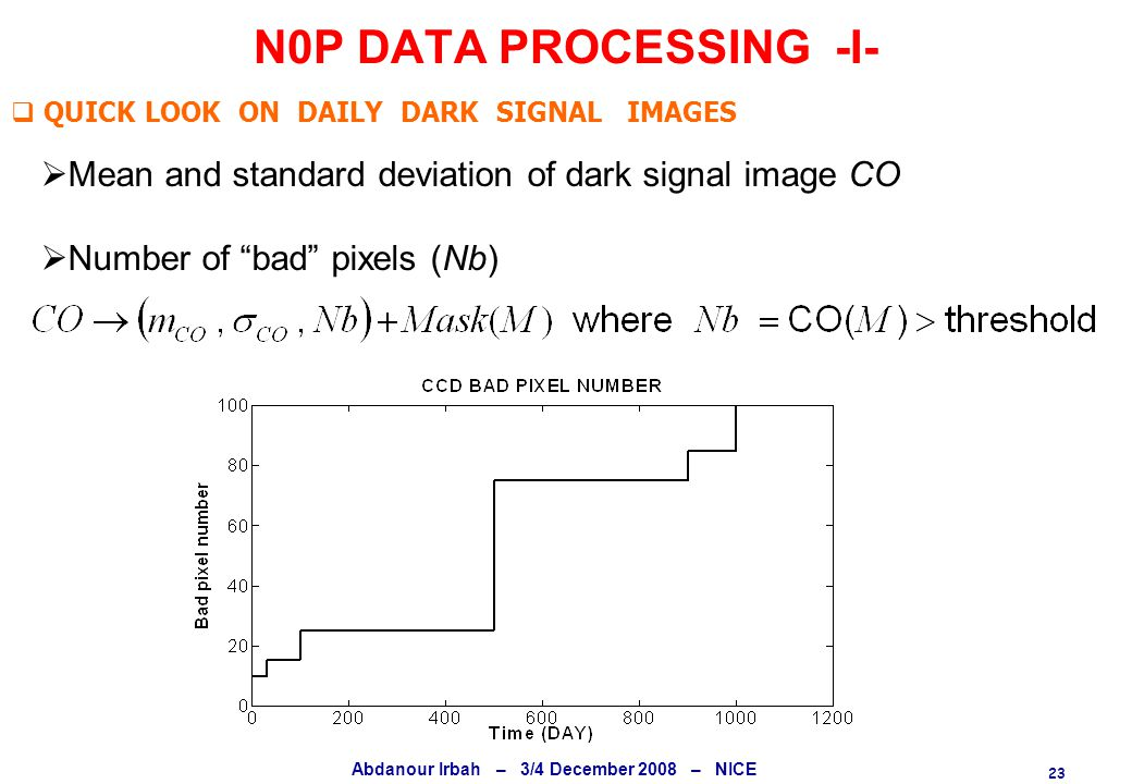 23 Abdanour Irbah – 3/4 December 2008 – NICE N0P DATA PROCESSING -I-  QUICK LOOK ON DAILY DARK SIGNAL IMAGES  Mean and standard deviation of dark signal image CO  Number of bad pixels (Nb)