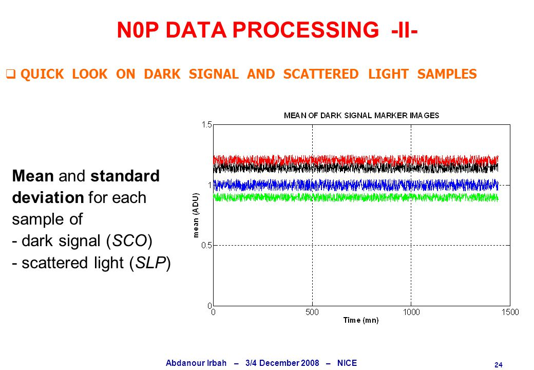 24 Abdanour Irbah – 3/4 December 2008 – NICE N0P DATA PROCESSING -II-  QUICK LOOK ON DARK SIGNAL AND SCATTERED LIGHT SAMPLES Mean and standard deviation for each sample of - dark signal (SCO) - scattered light (SLP)