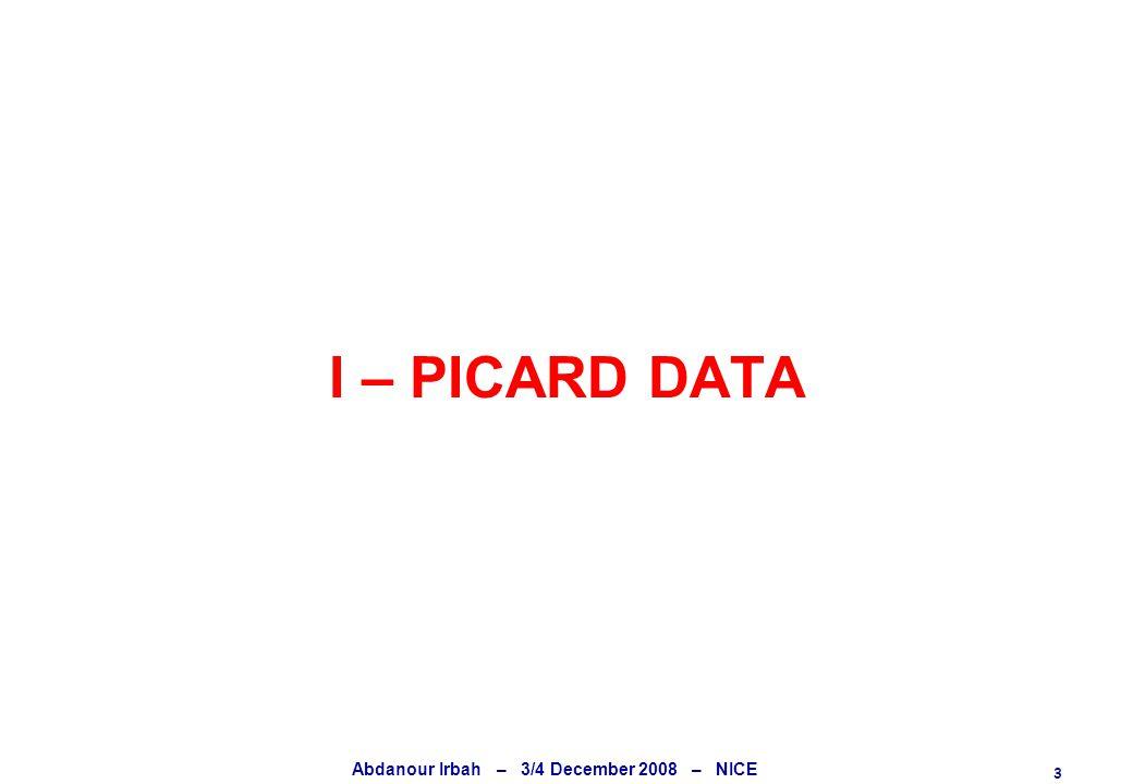 3 Abdanour Irbah – 3/4 December 2008 – NICE I – PICARD DATA
