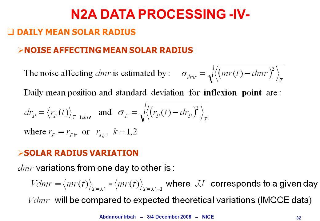 32 Abdanour Irbah – 3/4 December 2008 – NICE N2A DATA PROCESSING -IV-  NOISE AFFECTING MEAN SOLAR RADIUS  SOLAR RADIUS VARIATION  DAILY MEAN SOLAR RADIUS
