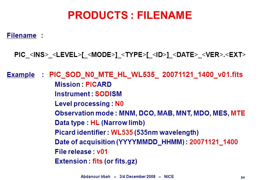 34 Abdanour Irbah – 3/4 December 2008 – NICE PRODUCTS : FILENAME Filename : PIC_ _ [_ ]_ [_ ]_ _. Example : PIC_SOD_N0_MTE_HL_WL535_ 20071121_1400_v01