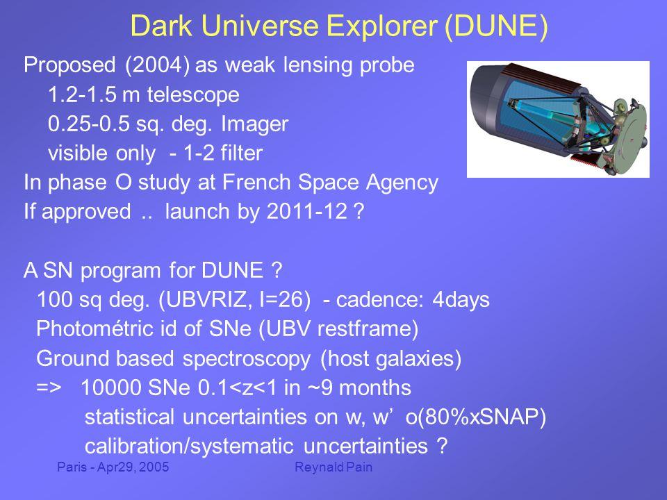 Paris - Apr29, 2005Reynald Pain Dark Universe Explorer (DUNE) Proposed (2004) as weak lensing probe 1.2-1.5 m telescope 0.25-0.5 sq.